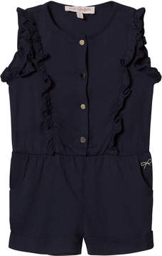 Lili Gaufrette Navy Frill Front Playsuit