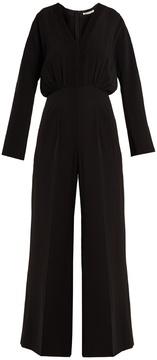 Emilia Wickstead Sally-Ann smocked wide-leg crepe jumpsuit
