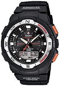 Casio Men's Twin Sensor Analog-Digital Orange-Accented Watch