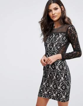 AX Paris Lace Front Long Sleeved Mini Dress