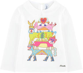 Simonetta Graphic T-shirt with a Peter Pan collar
