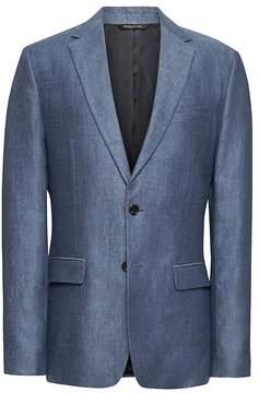 Banana Republic Slim Blue Linen Suit Jacket