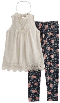 Knitworks Girls 7-16 Swiss Dot Victorian Tunic & Floral Leggings Set with Necklace