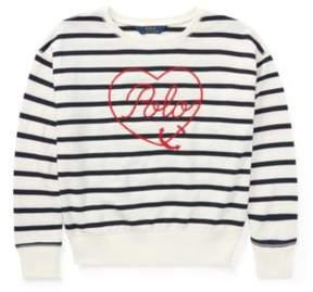 Polo Ralph Lauren Striped Terry Sweatshirt Cream/Navy M