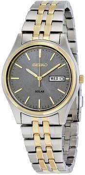Seiko Two-tone Solar Charcoal Dial Men's Watch
