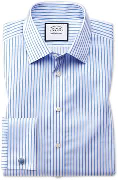 Charles Tyrwhitt Extra Slim Fit Non-Iron Twill White and Sky Blue Stripe Cotton Dress Shirt Single Cuff Size 14.5/32