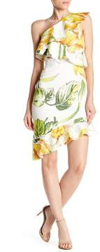Alexia Admor Floral Print One-Shoulder Ruffle Dress