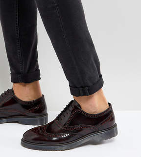 Asos Wide Fit Derby Brogue Shoes In Burgundy Leather With Ribbed Sole