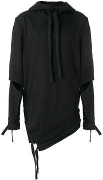 Barbara I Gongini asymmetric ripped hoodie