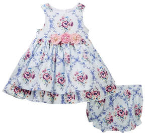 Laura Ashley Blue Cotton Print Dress (Baby Girls 0-9M)