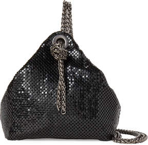 La Regale Black Mesh Chain Handle Bag