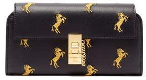 Chloé Drew Horse Embroidered Leather Wallet - Womens - Navy Multi