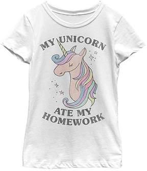 Fifth Sun White 'My Unicorn Ate My Homework' Tee - Girls