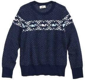 Vineyard Vines Girl's Shimmer Whale Fair Isle Sweater