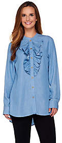 C. Wonder Chambray Button Front Tunic with Ruffle Detail