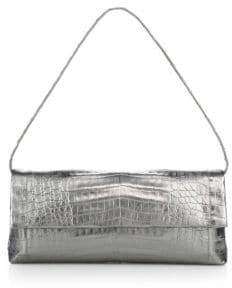 Nancy Gonzalez Gotham Crocodile Metallic Clutch
