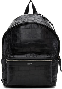 Saint Laurent Black Croc-Embossed City Backpack