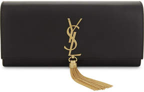 Saint Laurent Monogram Kate tassel leather clutch - BLACK - STYLE