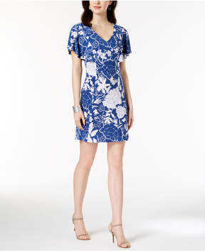 Connected Petite Printed Flutter-Sleeve Dress