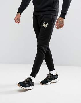 SikSilk Joggers In Black With Gold Logo
