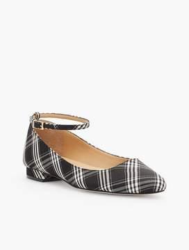 Talbots Edison Plaid Ankle-Strap Flats