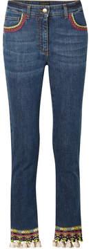 Etro Cropped Embellished High-rise Skinny Jeans - Mid denim