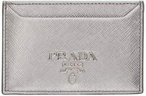 Prada Silver Saffiano Single Card Holder