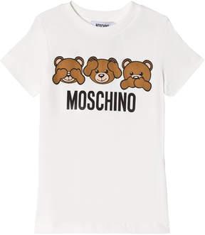 Moschino White Three Bears Print Tee