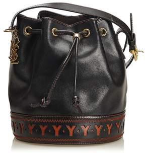 Saint Laurent Vintage Vintage | Leather Drawstring Bucket Bag | Black x brown