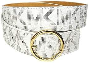 Michael Kors Womens Logo Monogram Wide Goldtone Buckle Belt Ivory (Large)