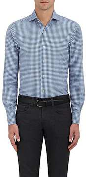 Finamore MEN'S WINDOWPANE-CHECKED LINEN-COTTON DRESS SHIRT