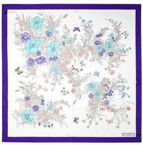 Aspinal of London | Bouquet Of Flowers Silk Scarf In Purple | Purple pure silk