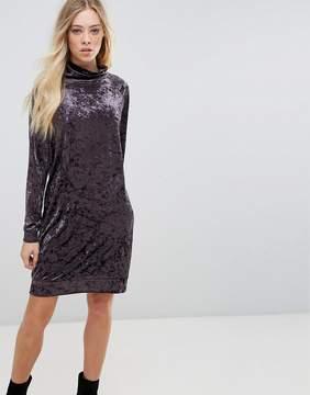 B.young Velvet High Neck Dress