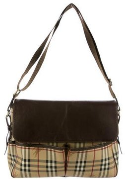 Burberry Leather-Trimmed Haymarket Check Bag - NEUTRALS - STYLE