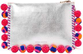 Sophia Webster Silver Leather Clutch Bag