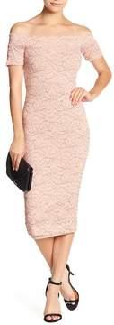 Dress the Population Jemma Off-the-Shoulder Lace Midi Dress