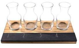 Cathy's Concepts Personalized Bamboo and Slate Wine Tasting Flight Set/Set of 6