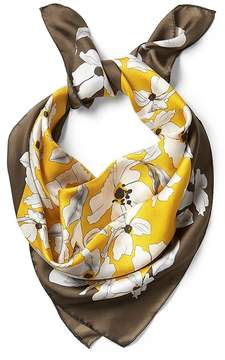 Banana Republic June Yellow Floral Large Square Silk Scarf