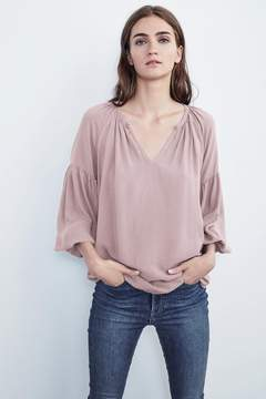 Velvet by Graham & Spencer ZION RAYON CHALLIS PEASANT TOP