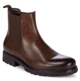 Saks Fifth Avenue Lug Leather Cap Toe Boots