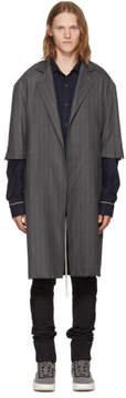 Fear Of God Grey Wool Pinstripe Overcoat
