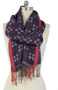 Saachi Women's Denim Red Border Scarf.