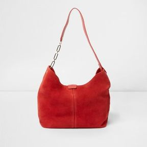 River Island Womens Red suede chain link handle slouch bag
