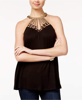Almost Famous Crave Fame Juniors' Embellished Cage-Front Tank Top