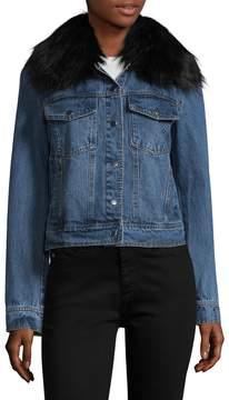 Bagatelle Women's Faux Fur Collar Cotton Trucker Jacket