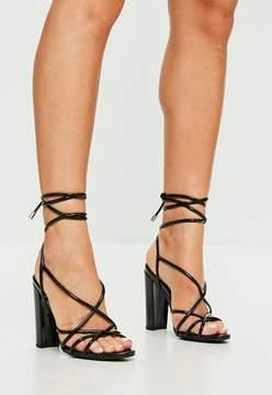 Missguided Black Vinyl Sandal Heels