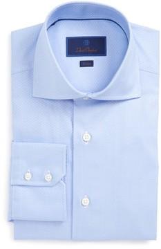 David Donahue Men's Trim Fit Herringbone Weave Dress Shirt