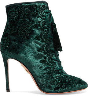Aquazzura Almaty Lace-up Embroidered Crushed-velvet Ankle Boots - Emerald
