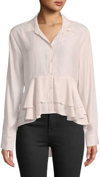 Band of Gypsies Ruffle-Hem High-Low Button-Front Blouse