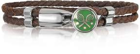 Forzieri Green Tennis Rackets Metal and Leather Men's Bracelet